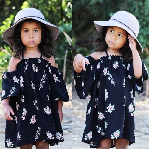 2018 nuevo vestido de flores de color azul marino para niñas vestido de niña bebé sin hombro tejido Halter vacaciones playa vestido de fiesta ropa de verano 1-6Y