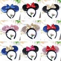 1pcs headwear minnie ear headband hair band for women thicken sequin 3d bow girls hair accessories birthday party hairband