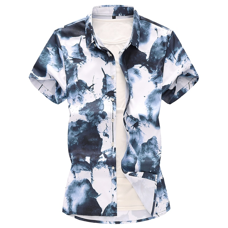 plus size 7XL floral print mens patterned shirts summer new mens casual shirts long sleeve shirt men cotton