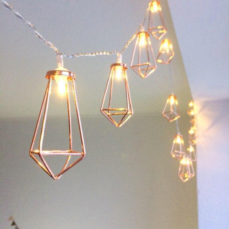 Unicornio/diamante/guirnalda de luces de cadena de LED en forma de piña guirnalda de calle de Metal Retro guirnalda de luces de hadas alimentada por batería al aire libre 20 LED