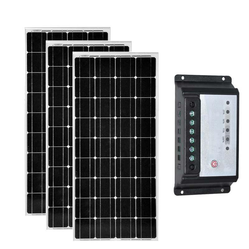 Zonnepaneel 12 v 12 v 100 w 3 uds Zonnepaneel 300w controlador de carga Solar 12 v/24 v 20A cargador de batería caravana Verlichting