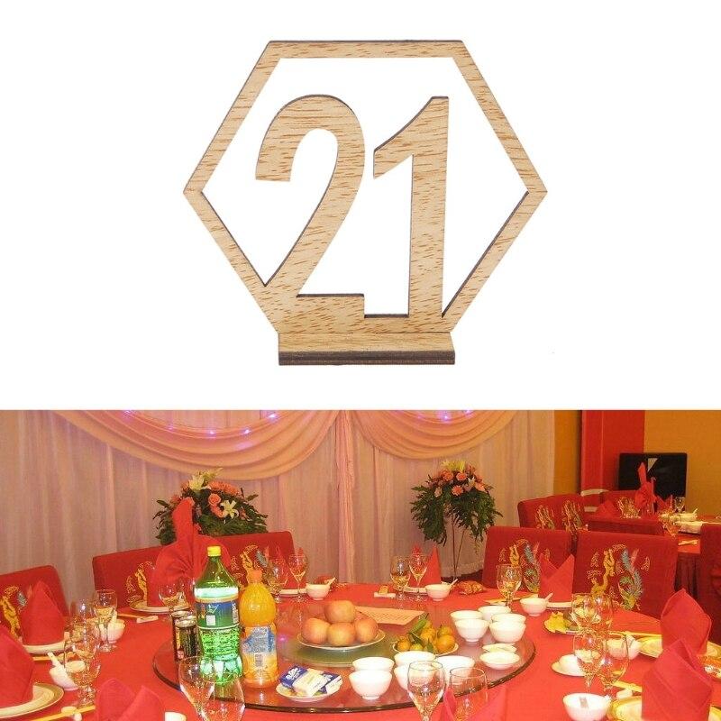 Mesa hexagonal de NO.21-40, número de signo de madera de boda, centro de mesa de recepción, vacaciones