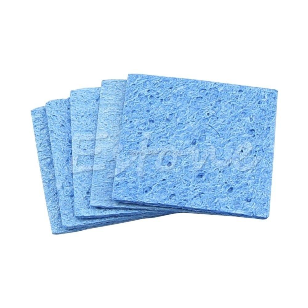 5pcs Soldering Iron Solder Tip Welding Cleaning Sponge Pads Blue Size 6cm*6cm Clean Sponges Dropship
