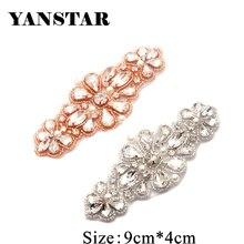 YANSTAR 30 stücke Großhandel Hand Perlen Nähen Auf Rose Gold Kristall Strass Applique Patch Eisen Auf Für Kleider Schärpe Gürtel YS894