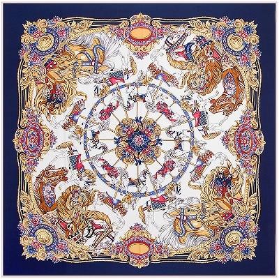 POBING 100% Silk Square Scarf Spain Flower Print Women Scarves&Wrap Silk Neckerchief Lady Foulard Luxury Brand Bandana Hijab