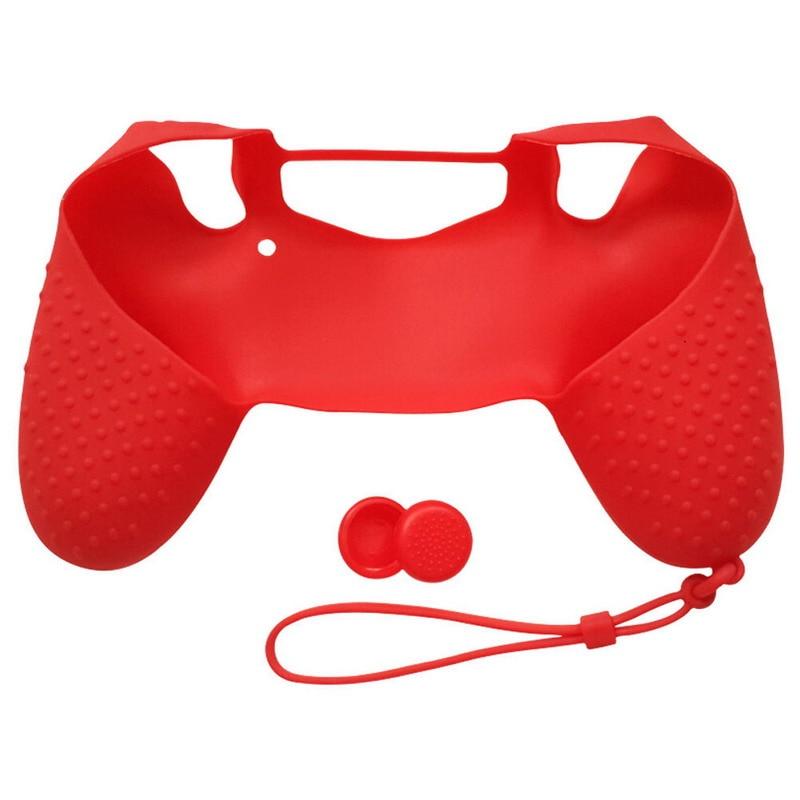 ALLOYSEED Pele Caso Protetor De Silicone Capa De Borracha Vermelha Controlador JoyStick Caps para Sony Play Station 4 PS4