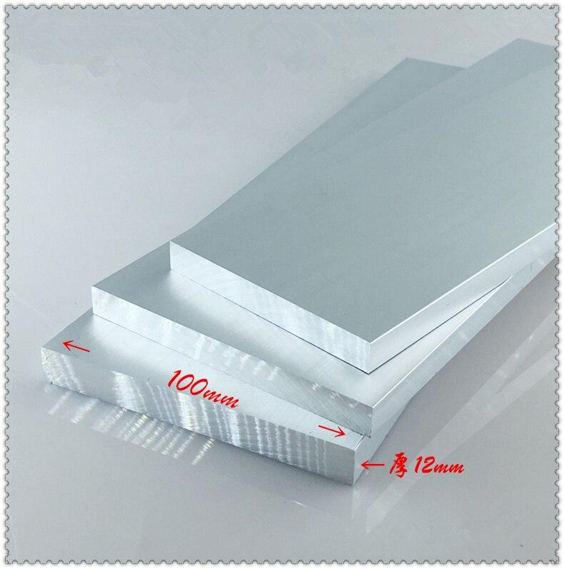 سبائك الألومنيوم لوحة 12 مللي متر x 100 مللي متر المادة الألومنيوم 6063-T5 الأكسدة العرض 100 مللي متر سمك 12 مللي متر طول 600 مللي متر 1 قطعة