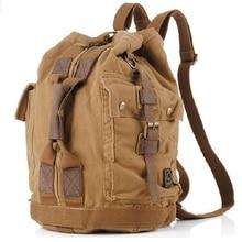 2020 Fashion Vintage Military Cotton Canvas Men's Backpack men Bucket bag Military canvas Backpack School male Rucksack large