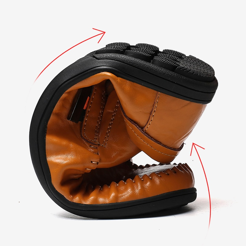 Купить с кэшбэком 2019  Leather Mens Moccasin Shoes Black Men Flats Breathable Lightweight Casual Italian Loafers Comfortable Driving Shoes