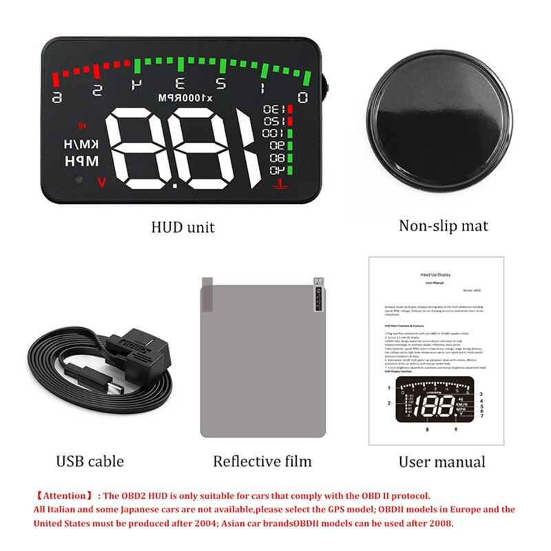 Купить с кэшбэком GEYIREN HUD Car A900 OBD2 Head Up Display Speed RPM Water Temperature Car Electronics hud obd2 display Overspeed Head-Up Display