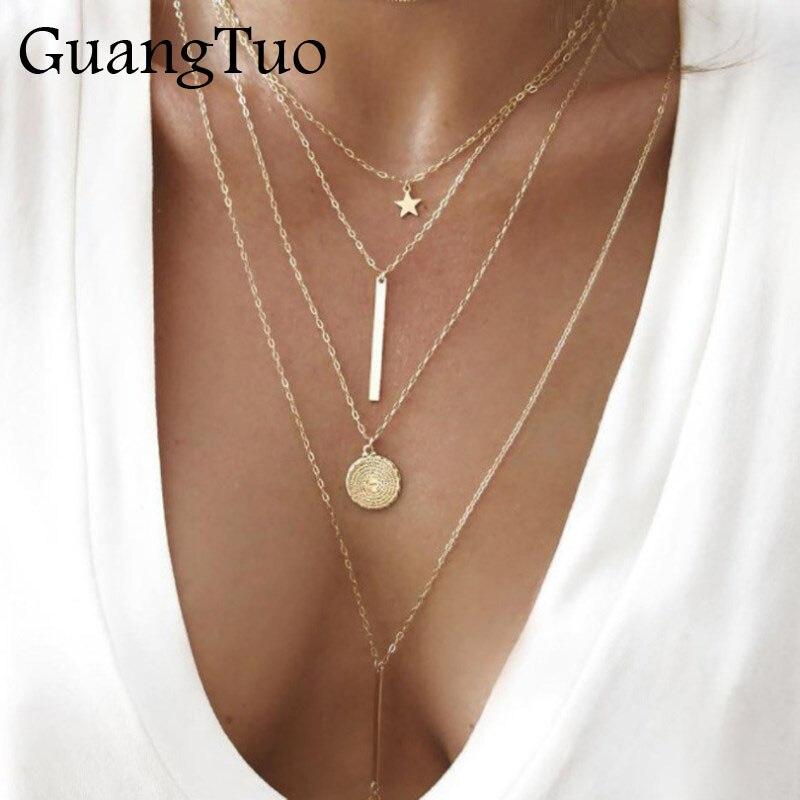 NK152 nuevo Collar Vintage Boho pendiente multicapas para mujeres Collar de oro estrella moneda Metal Tribal Collar de plata