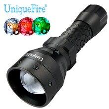 Uniquefire 1407 XR-E Led Zaklamp Groen/Rood/Wit Licht Led 38 Mm Bolle Lens Torch Night Camping, predator Jacht, Vissen