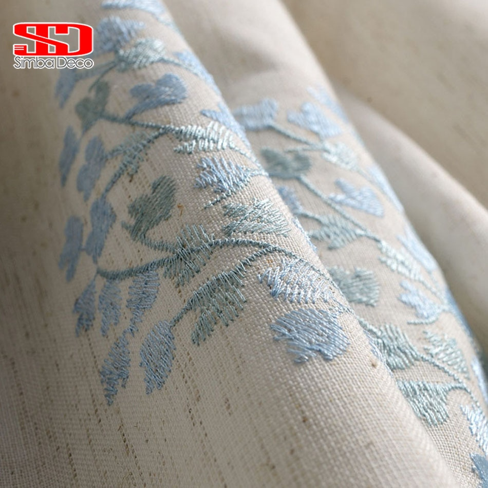 ستائر كتان مطرزة لغرفة المعيشة ، ستائر زهور لغرفة النوم ، خيام زرقاء ، علاجات النوافذ الصينية