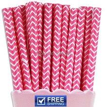 200pcs Paper Straws Hot Pink Chevron,Zig Zag Baby Girl Wedding Bridal Baby Shower,Birthday Party, Party Supplies Cake Pop Sticks