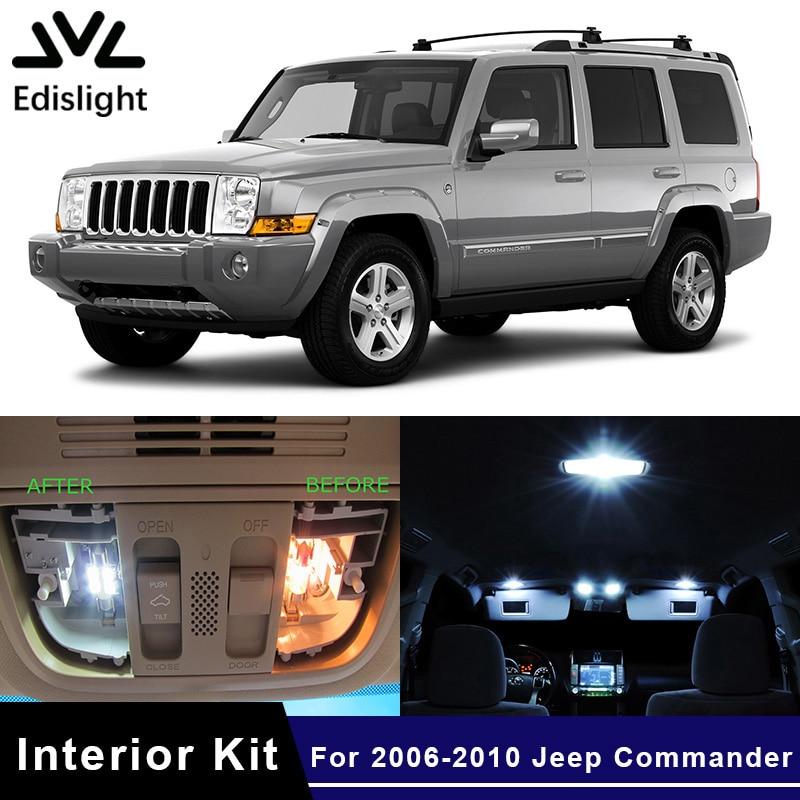 Edislight 13Pcs White Ice Blue Canbus LED Lamp Car Bulbs Interior Package Kit For 2006-2010 Jeep Commander Map Dome Door Light