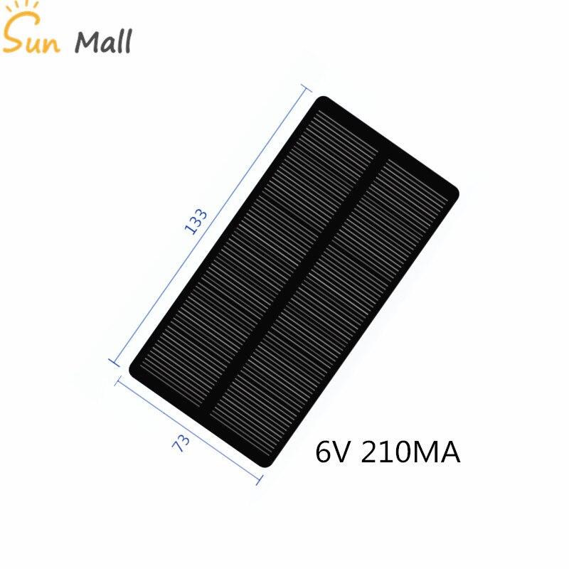 Mini 6V 210MA 1,25 W Panel Solar De Silicio Monocristalino/Panel Solar de epoxi, Panel Solar, carga de teléfono celular fotovoltaico