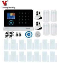 Yobang Security-APP GSM WIFI Alarm System 433Mhz IP Camera PIR Motion Infrared Detector Smoke/Door Sensor Blue Siren Alarm Kits
