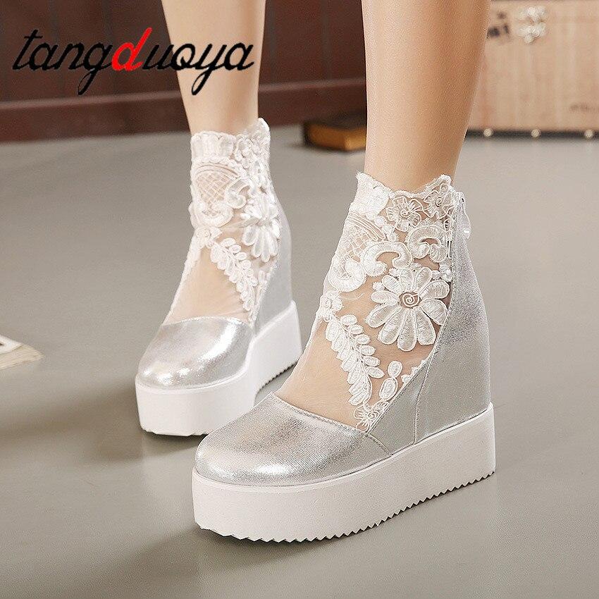 Mode Süße Spitze Römische Schuhe Frauen Keil Heels Weiß Plattform Pumpen High Heels Zapatos Plataforma Mujer Encaje 34-39