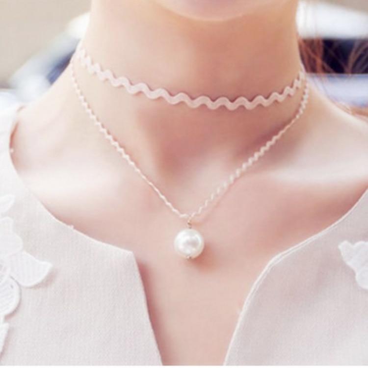 Новые горячие ювелирные аксессуары двойной сладкий принцесса мода имитация жемчуга ожерелье оптовая продажа женский