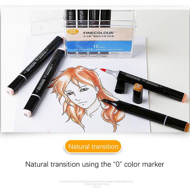 Finecolour três gerações de cabeça macia marcador de cor anime álcool terno oleoso 36/24/12/cor vestuário design carne cor caneta