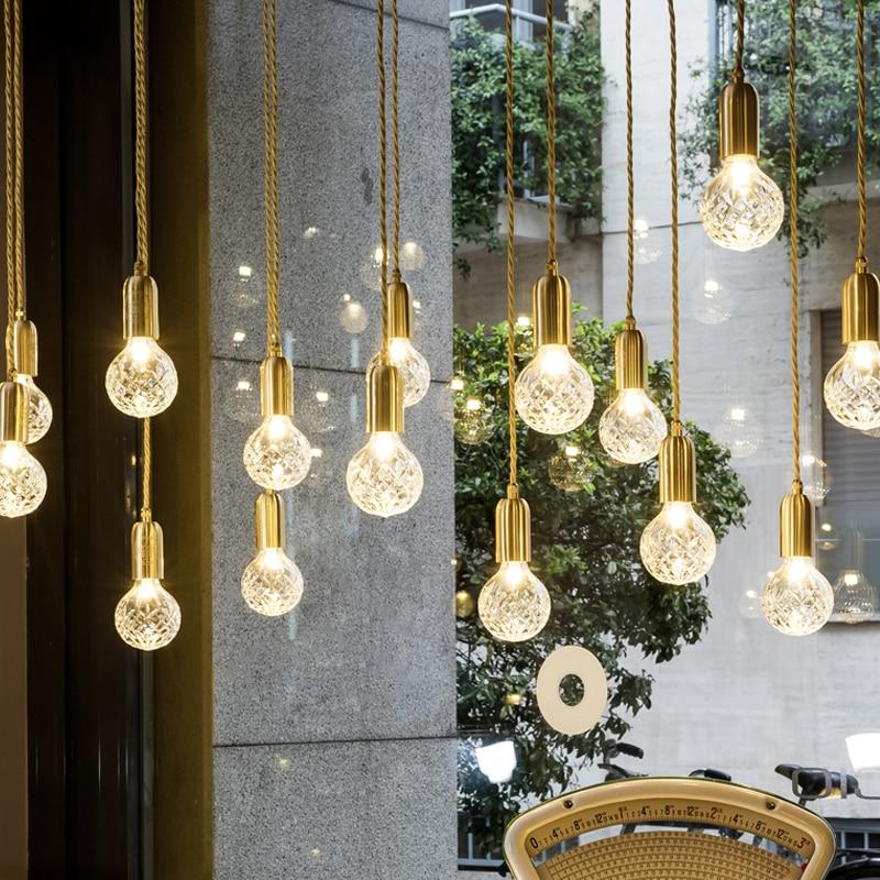 Lámpara colgante nórdica moderna para cafetería, lámpara colgante de cristal, lámpara colgante LED de cristal minimalista para tienda de ropa y restaurante