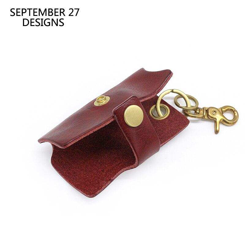 Hasp Key Chain Men Genuine Leather Handmade Luxury Car Key Bag Women Housekeeper Holder Keychain Top-end Cow Leather key case
