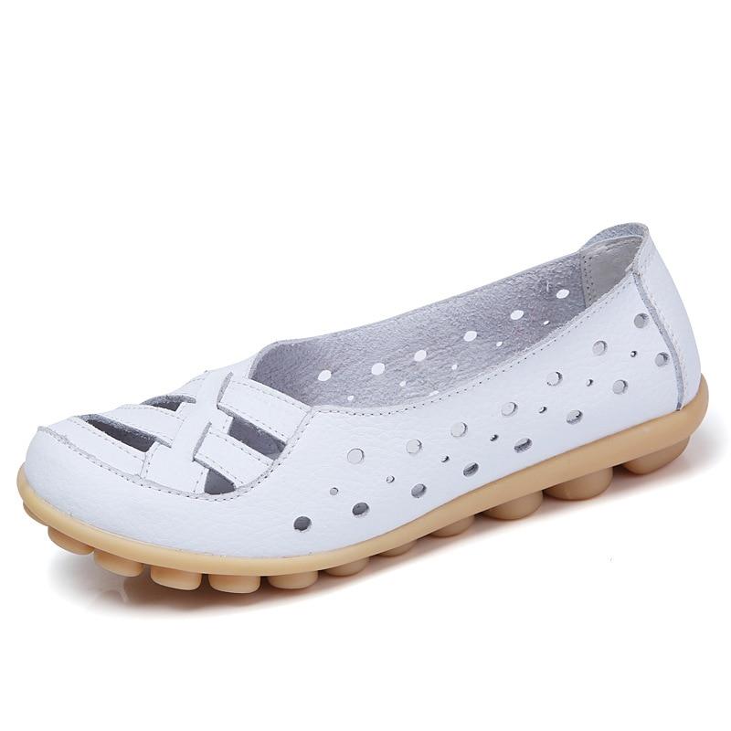 Las mujeres planos de las mujeres 2017 de moda mocasín de mujer transpirable mocasines casuales zapatos de cuero genuino de las mujeres zapatos planos con hueco