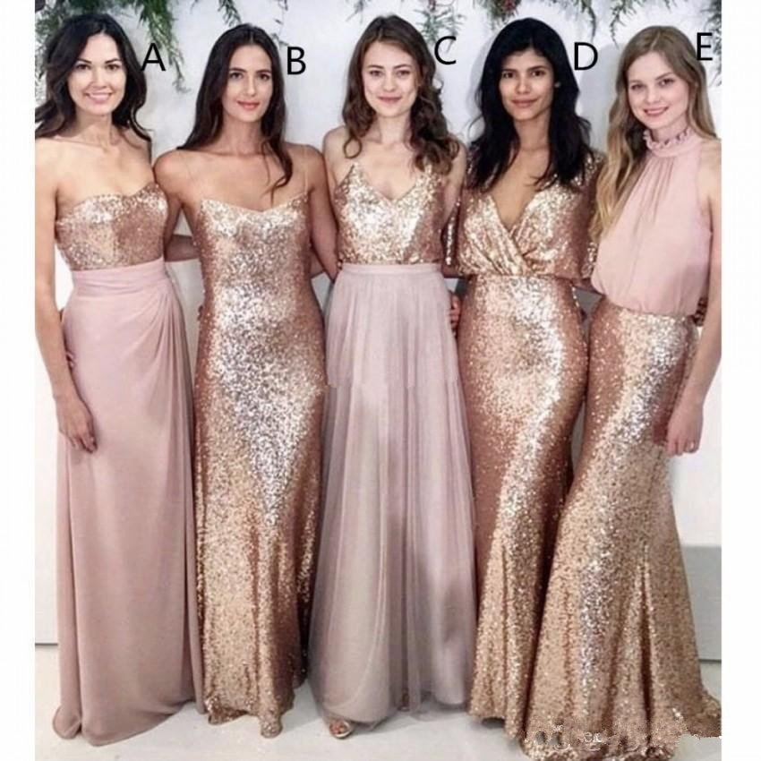 свадебное платье Modest Blush Pink Bridesmaid Dresses Beach Wedding with Rose Gold Sequin Party vestido de fiesta de boda