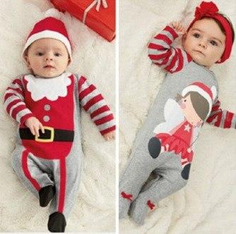 Рождественские подарки Детский комбинезон цельный костюм дети с длинным рукавом весна осень детская одежда комплект одежды топ повязка на ...