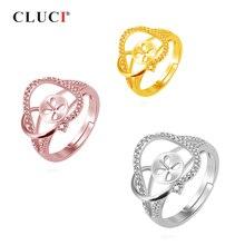 CLUCI 925 en argent Sterling perle anneau de montage pour les femmes bague de fiançailles de mariage mariée dame élégante fleur anneau bijoux SR2103SB
