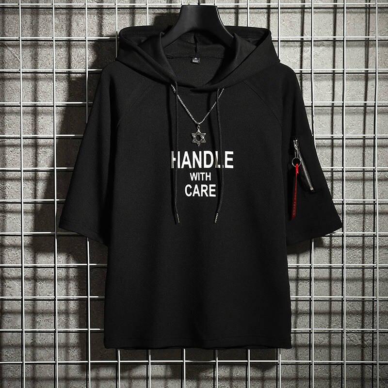 Verano moda camiseta Streetwear Casual con capucha suéter de gran tamaño suelta para hombres camiseta divertida alta Sterrt Top Tees camiseta de hip-hop