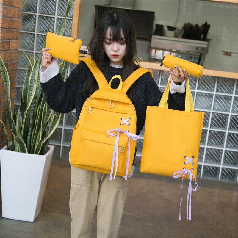 Stylish 4Pcs/Set Women Bag Backpack Girl School Shoulder Bag Canvas Travel Bags