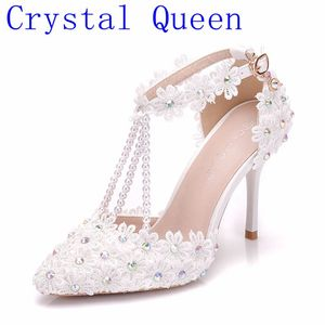 Crystal Queen Women White Rhinestone Lace Tassels Bead Bridal Shoes High Heel Shoes Women Dress Shoes Party Wedding Shoes