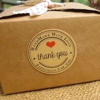 100pcs Handmade wtih Love Heart Thank you Round Scrapbooking Paper Label Sticker 5 designs DIY Gift Sticker