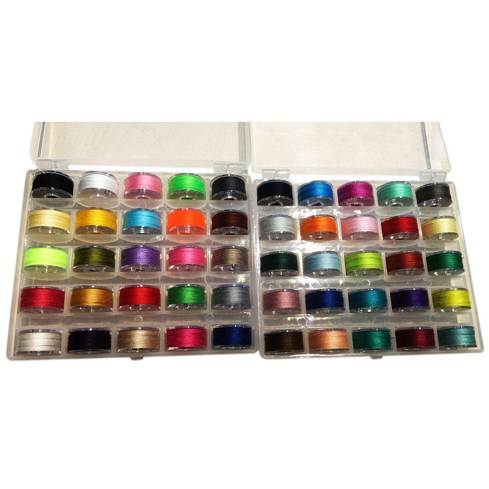 Bobinas de hilo preenrolladas con caja de bobina para Brother/Babylock/Janome/Elna/Singer, colores surtidos, piezas