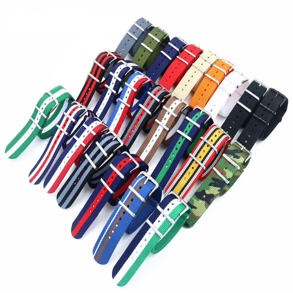 18mm 20mm 22mm NATO Militär Sport Marke Nylon Stoff Gürtel Zubehör Gürtel Schnalle Bands für 007 James bond Schwarz Armband