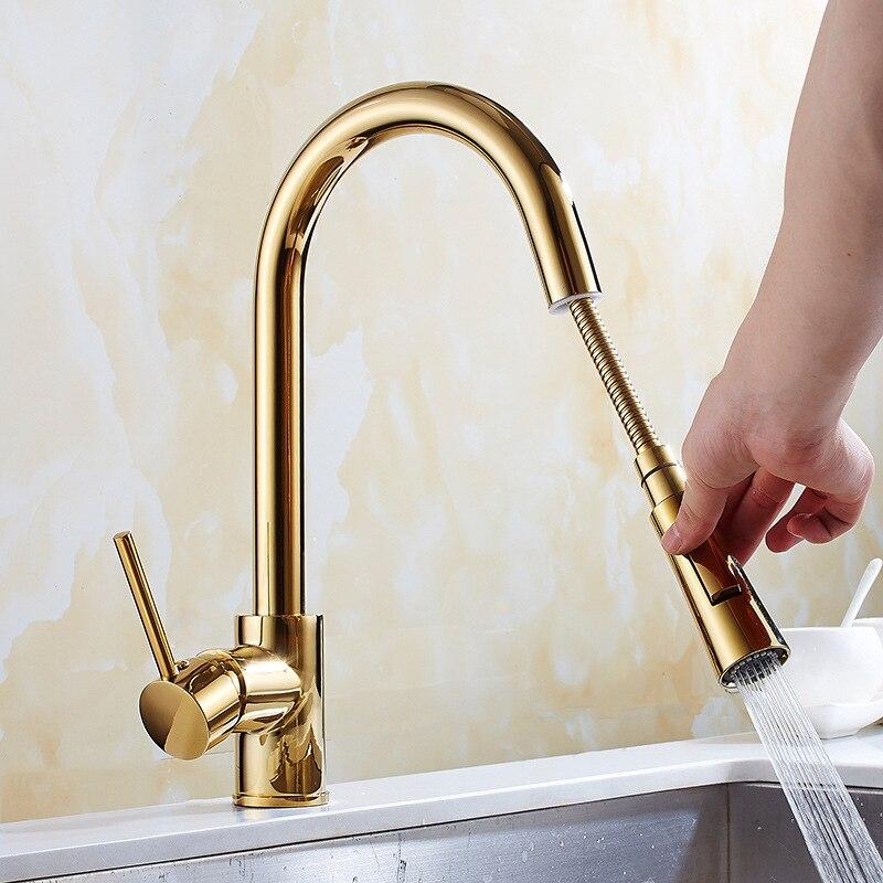سحب صنبور المطبخ النحاس الذهب بالوعة صنبور حوض خلاط 360 درجة دوران خلاط مطبخ صنابير المطبخ الحنفية