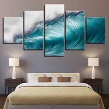Lienzos con pinturas modernas arte de pared impresiones de alta definición 5 piezas Rolling imágenes de olas océano mar ola paisaje marino carteles hogar cuadro decorativo