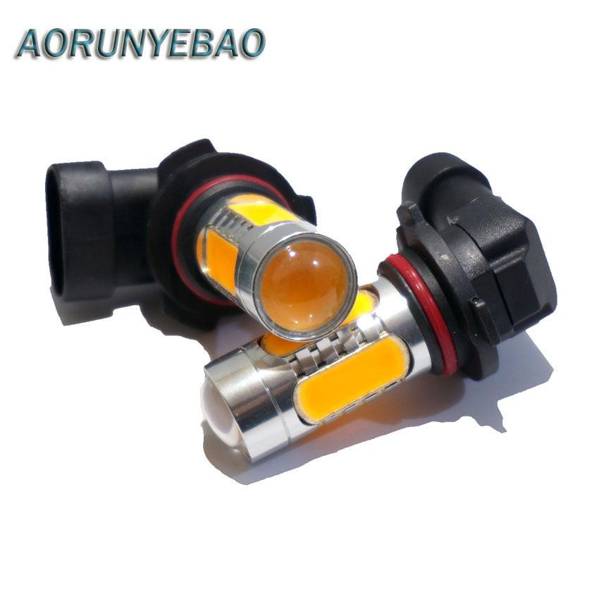 AORUNYEBAO 2pcs Car auto 9006 HB4 9005 HB3 H7 H1 H11 7.5W COB LED With lens Turning Fog Light Braking Bulb lamp White yellow 12V