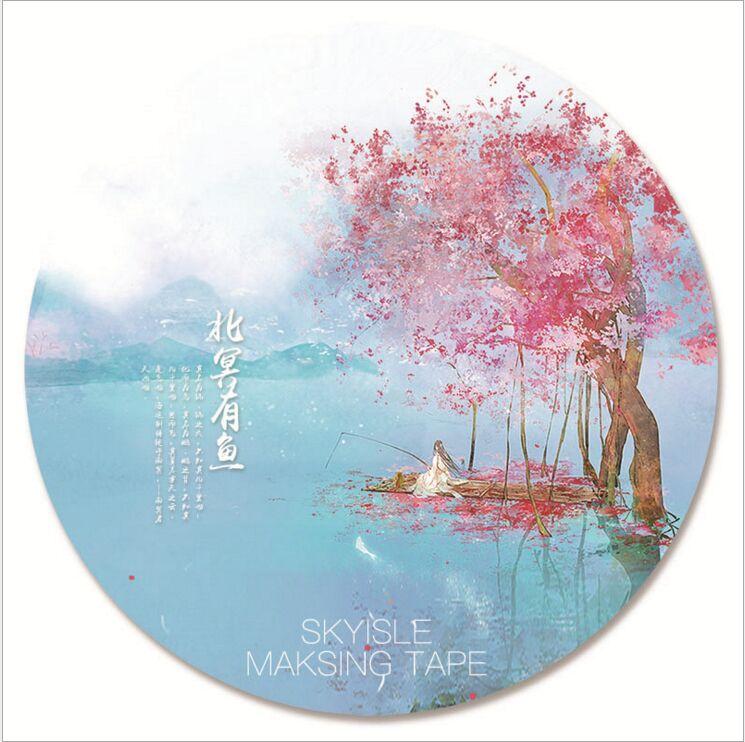 60mm starożytna wiśnia kwitnąca morze wieloryb oryginalna dekoracyjna taśma Washi DIY dziennik z terminarzem Scrapbooking taśma maskująca Escolar