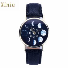 Relógio de pulso de quartzo analógico de couro relógio de pulso de quartzo casual relógio de pulso relogio feminino 2017 fase da lua