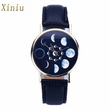 Relogio Feminino 2017 Moon Phase Watch Women Lunar Eclipse Pattern Leather Analog Quartz Wrist Watch Casual Watches Clock