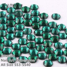 SS3-SS34 Emerald Green Nail Art Glass Rhinestones Flatback Non HotFix Glue On Rhinestone For DIY Nail Art,Jewelry Decor