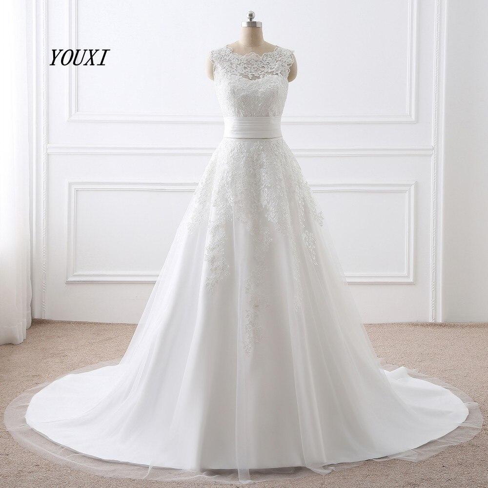 Vestidos de noiva de renda 2019, vestido de noiva com decote de renda, duas peças, curto, removível, sem manga