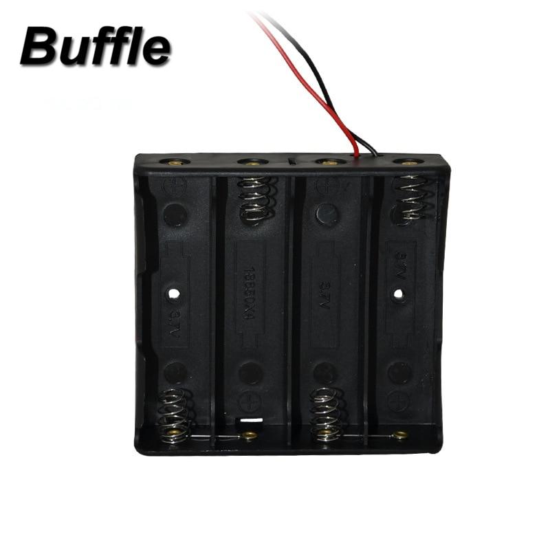"""1x Buffle 18650 soporte caja batería cuatro de carga de 4 ranuras de longitud 150mm caja de almacenamiento de batería plástico negro con 6  """"cables de alambre"""