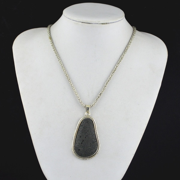 R234h irregular preto lava rock colar pingente jewlery feminino, olhar vintage, antiguidade, tibete liga, atacadista