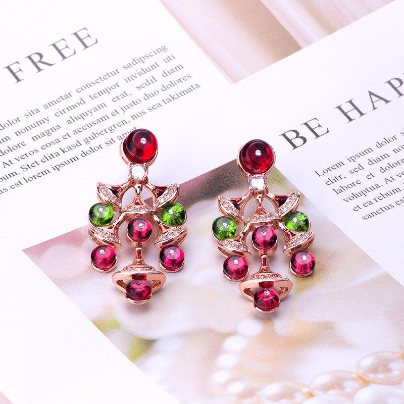 Moda de luxo conjunto de contas de cristal feminino pequeno fã saia pingente acessórios exagerados brincos pingente brincos do parafuso prisioneiro