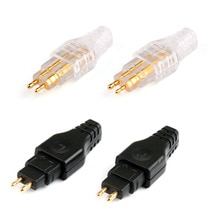 Areyourshop-Mini connecteur prise de courant   Connecteur de prise plaqué or pour Sennheiser bricolage HD650 HD600 HD565 HD580 HD414, noir blanc, vente