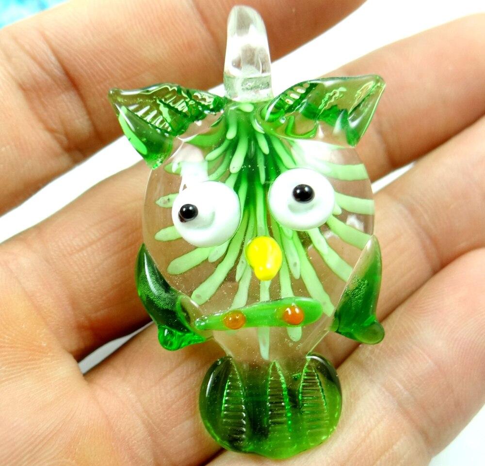50*30 MM Multi-Color Liuli Color esmalte de vidrio búho COLLAR COLGANTE perlas P56