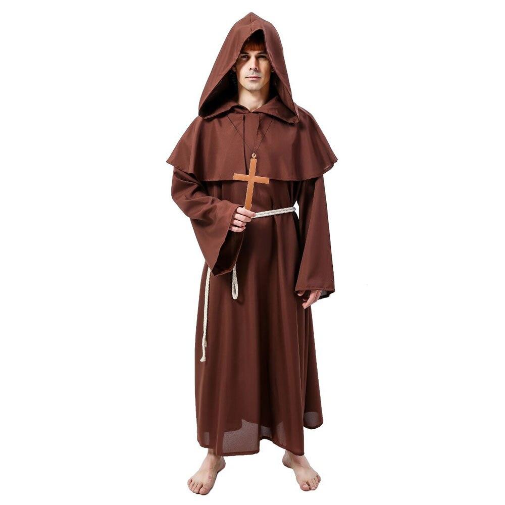 Disfraz de Halloween para hombres adultos padre disfraces de sacerdote Medieval padre monje con capucha túnicas sacerdote Pastor iglesia cristiana Cosplay